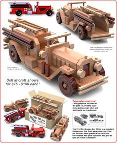 Table Saw Magic 1932 Fire Engine No. 36 Wood Toy Plan Set