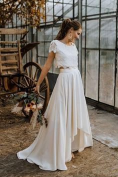 2020 New Bohemain Two Pieces Lace Wedding Dresses O-Neck High-Low Sweep Train Garden Bridal Gowns Beach Vestidoe De Noiva Custom Two Piece Wedding Dress, Custom Wedding Dress, Tea Length Wedding Dress, Wedding Dresses Plus Size, Wedding Dress Sleeves, Cheap Wedding Dress, Boho Wedding Dress, Wedding Dress For Short Women, Lace Wedding