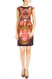 Multi-colour rosette print peplum dress