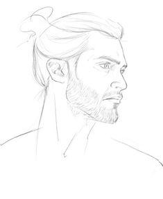 fan art by andavs - Derek Hale with a man bun, in all its glory - Teen Wolf