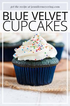 """Blue Velvet Cupcakes - Soft cupcakes made with cocoa powder and blue food coloring to create a """"blue velvet cupcake"""" that is moist and delicious! Cupcake Recipes, Baking Recipes, Cupcake Cakes, Dessert Recipes, Cupcake Ideas, Top Recipes, Drink Recipes, Blue Velvet Cupcakes, Blue Food Coloring"""