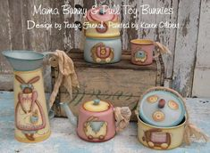 Mama Bunny Pull Toys by Karen Gilbert for Painting with Friends. E-Pattern by PaintingWithFriends on Etsy