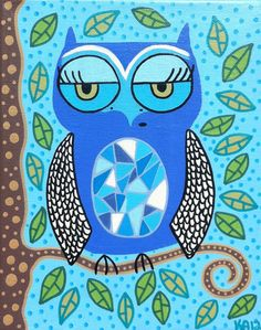 Kerri Ambrosino Art NEEDLEPOINT Mexican Folk Art  Baby Blue Owl tree on Etsy, $22.99