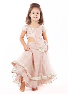 Floral Embroidered Baby Pink Lengha Set by Gaurav Gupta - Seriously, who taught this girl how to pose? Indian Frocks, Indian Dresses, Indian Outfits, Lehenga Designs, Kids Outfits Girls, Girl Outfits, Kids Lehenga Choli, Kids Indian Wear, Indian Clothes Online