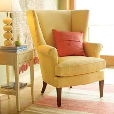 I Love Everything About This Wing Chair Yellow Wing Chair For Living Room Maine Cottageyellow Cottagecottage Furnitureliving