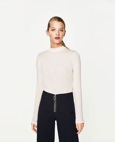 Image 2 of CROPPED FUNNEL NECK T-SHIRT from Zara