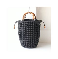 Gucci bamboo Leather suede woven net tote handbag by hfvin on Etsy Vintage  Handbags 8765b698f9fbf