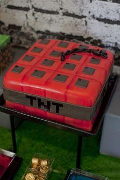 TNT Cake at a Minecraft Party #minecraft #partycake