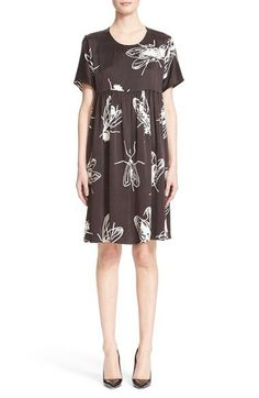 Ashley Williams 'Black Fly' Silk Smock Dress available at #Nordstrom