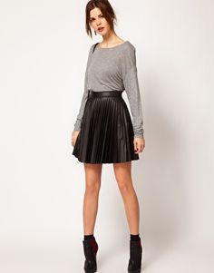 Warehouse Leather Look Pleated Skirt @ ASOS, $70.36