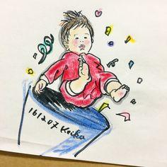 【Around midnight】ポンッ #baby #drawing #illustration #cracker #6months #赤ちゃん #おえかき #イラスト #新米ママ #6ヶ月 #クラッカー
