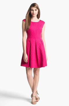 Eliza J Jacquard Cap Sleeve Fit & Flare Dress available at #Nordstrom