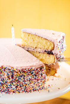 Yellow layer cake with pink frosting and rainbow sprinkles on bright yellow background with birthday candle on white cake stand. Recipe photography for Katie Workman. #colorful #rainbow #simple #minimalist #foodstyling #foodphotography #macro #dessert #sweetfood #sweettooth #pastry #bakedgoods Vanilla Layer Cake Recipe, Layer Cake Recipes, Homemade Cake Recipes, Cupcake Recipes, Vanilla Cake, Baking Recipes, Dessert Recipes, Top Recipes, Breakfast Recipes