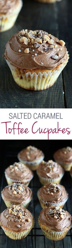 Does life get better than this?! Salted Caramel Toffee Cupcakes are the perfect salty sweet treat! Salted Caramel Toffee Cupcakes are the ultimate salty sweet treat! Vanilla cupcake loaded with toffee bits with a homemade chocolate caramel frosting. YES!