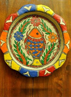 Trays,Indiacraft,Madhubani wall plaque or tray - papier mache orange fish-...