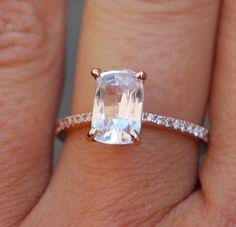 Sapphire Engagement Ring 14k Rose Gold Diamond by EidelPrecious
