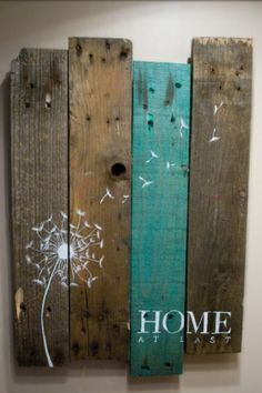 Completely Custom! Pallet Art Dandelion Welcome Home Wall Hanging Rustic Shabby…