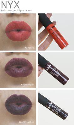 NYX Soft Matte Lip Creams in Morocco, Copenhagen and Transylvania