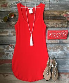 The Fun in the Sun Tank Dress in Red Orange is comfy, fitted, and oh so fabulous! A great basic that can be dressed up or down! Sizing: Small: 0-3 Medium: 5-7 Large: 9-11 True to Size with a Stretchy,