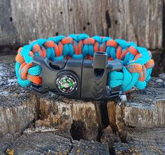 Paracord Heart Weave Emergency Fire Starter Survival Bracelet Fire Cord, Flint & Striker, Compass, Whistle- Light Blue/ Hunting Season by BrodsParacord on Etsy