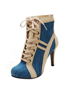 nice Chic Contrast Colour Denim Lace-Up High Heel Ankle Boots Heeled Boots, Bootie Boots, Shoe Boots, Ankle Boots, Women's Shoes, Boot Heels, Denim Knee High Boots, Basket Style, Baskets