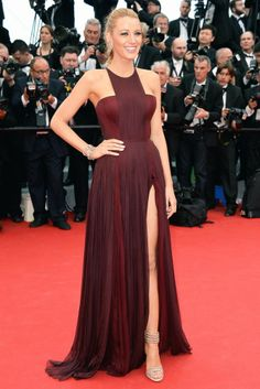 #CelebrityStreetStyle Blake Lively in a burgundy Gucci Premiére and gold Casedei sandals @ Cannes 2014
