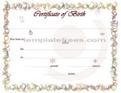 Colorful Printable Baby Birth Certificate For Word Template  Birth Certificate Template For Word