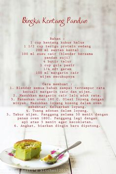 """Resep ini hasil blogwalking di blog tetangga jiran Kak Yatie """"Sinar Kehidupanku"""" . Reviewnya semua memuaskan. Lembut dan manisnya pas... Quiche Recipes, Pastry Recipes, Cake Recipes, Snack Recipes, Cooking Recipes, Snacks, Indonesian Desserts, Asian Desserts, Indian Pickle Recipe"""