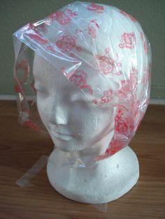1960s Plastic Rain Bonnet in Purse Pouch Barbie Hot Pink Flowers 2013252.