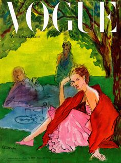 "Pedersen, right, in a ""déjeuner sur l'herbe"" scenario that took place in a studio. Illustrated by René Bouché, Vogue, June 15, 1947"