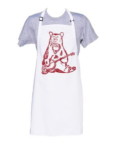 Kitchen Apron - BBQ Apron - Cooks Apron - Long Apron - Kitchen Gifts - Cooking Gift Ideas - Birthday Gift Ideas - Red Banjo Bear Apron Kitchen Aprons, Kitchen Gifts, Red Images, Bbq Apron, Gifts For Cooks, Hand Designs, Banjo, Color Show, Birthday Gifts