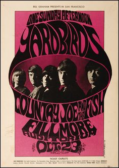 1966 Yardbirds Concert Poster with Country Joe & The Fish