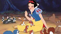A princesa Branca de Neve é amiga dos animais