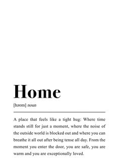 Home Definition Art Print by pulseofart One Word Quotes, Color Quotes, Love Quotes, Inspirational Quotes, Pretty Words, Beautiful Words, Unusual Words, Aesthetic Words, Motivation
