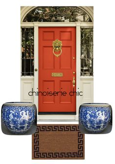 Chinoiserie Chic: The Chinoiserie Front Door - Coral?