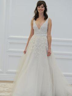 Anne Barge plunging neckline with belt wedding dress from Spring 2016