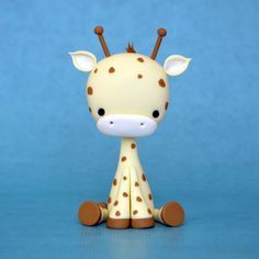 Baby Giraffe Tutorial - Polymer Clay or Sugar Paste (by Crumb Avenue Tutorials) Polymer Clay Animals, Polymer Clay Charms, Polymer Clay Projects, Polymer Clay Creations, Clay Crafts, Polymer Clay Tutorials, Polymer Clay Figures, Cake Topper Tutorial, Fondant Tutorial