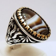 925 Sterling Silver Men's Ring with Botswana Agate Handmade