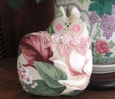 Valentine Cat Pillow Doll Cloth Doll Rose by CharlotteStyle, $14.00