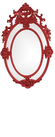 "Wall Mirrors, 48"" Tall Classic Baroque Vanity Mirror, Red High Gloss Lacquer, so beautiful, inspire your friends and followers interested in luxury interior design with trending colors from Hollywood courtesy of InStyle Decor Beverly Hills, Luxury Designer Furniture, Mirrors, Lighting, Art, Accents & Gifts, over 3,500 inspirations to choose from and share with our simple one click Pinterest Pin button enjoy & happy pinning"