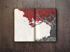 Here at Inspiration Hut we love peeking into artists' sketchbooks. Below we have the impressive Moleskine sketchbook of Ivan Meshkov Art Inspo, Sketchbook Inspiration, Art Journal Inspiration, Sketchbook Ideas, Moleskine Sketchbook, Arte Sketchbook, Art Sketches, Art Drawings, Tree Art