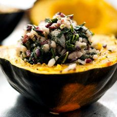 Baked Acorn Squash Stuffed With Wild Rice and Kale Risotto: View this and hundreds of other vegetarian recipes in the Eat Well Recipe Finder. Wild Rice Recipes, Meat Recipes, Healthy Recipes, Healthy Eats, Vegetarian Recipes, Healthy Grains, Vegetable Recipes, Vegetarian Thanksgiving, Going Vegetarian