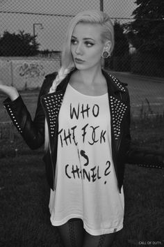 rocker chick style, hot, the shirt is awesome! | See more about Rocker Chick, Rockers and Shirts.