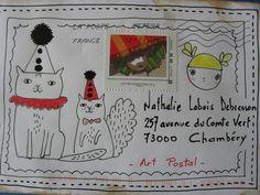Nathalie Labois-Debesson Un VRAI TIMBRE MERCI POUR CE MAIL ART CHAT- RMANT