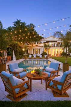 Twinkle Lights And Pool