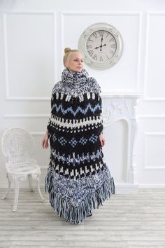 Nordic Pullover, Poncho Pullover, Pullover Mode, Nordic Sweater, Poncho Sweater, Turtleneck Dress, Gros Pull Mohair, Leather Hoodie, Knitted Cape