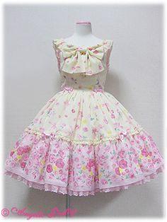 Angelic Pretty / Jumper Skirt / Powder Rose Switching Ribbon JSK