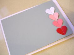 Stitch my heart Notelets - Pink Ombre on Grey card stock - set of 6, wedding, engagement, shower thank you. $9.00, via Etsy.