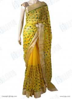 Silk Kota Saree with Designer Mirror Thread Work & Work Blouse