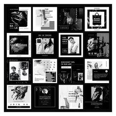 Black Riviera Social Media Pack - 16 beautiful, stylish and unique templates for. - Black Riviera Social Media Pack – 16 beautiful, stylish and unique templates for your business, h - Social Media Ad, Social Media Branding, Social Media Template, Social Media Design, Web Design, Book Design, Layout Design, Graphic Design, Instagram Grid